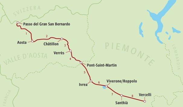 Cartina Della Valle D Aosta Da Stampare.La Via Francigena In Valle D Aosta E Piemonte