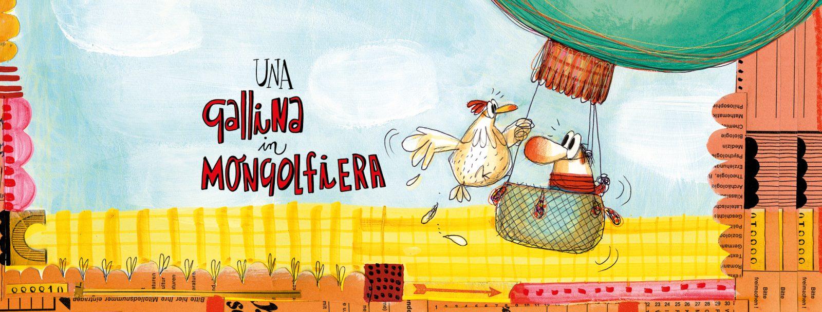 una gallina in mongolfiera